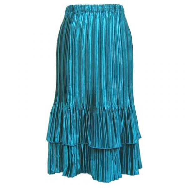 Wholesale Skirts - Satin Mini Pleat Tiered* Solid Turquoise - One Size (S-XL)