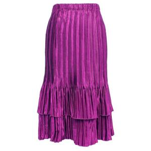 Wholesale Skirts - Satin Mini Pleat Tiered* Solid Orchid Pink  - One Size (S-XL)