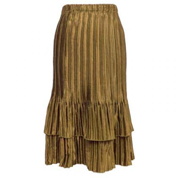 Wholesale Skirts - Satin Mini Pleat Tiered* Solid Taupe  - One Size (S-XL)