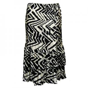 Wholesale Skirts - Satin Mini Pleat Tiered*  Block Print Black-Ivory Satin Mini Pleat Tiered Skirt - One Size (S-XL)