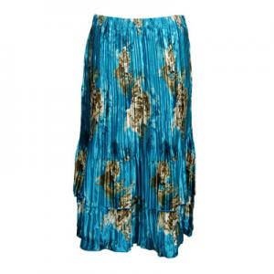 Wholesale Skirts - Satin Mini Pleat Tiered*  Taupe on Teal - One Size (S-XL)