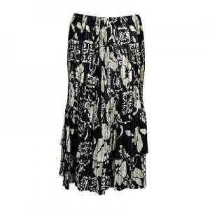 Wholesale Skirts - Satin Mini Pleat Tiered*  Ivory Floral on Black Satin Mini Pleat Tiered Skirt - One Size (S-XL)