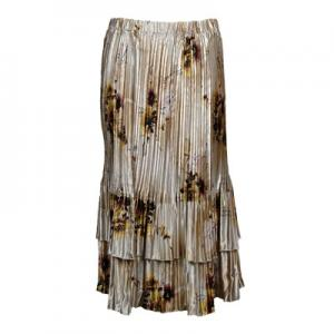 Wholesale Skirts - Satin Mini Pleat Tiered*  Beige Floral - One Size (S-XL)