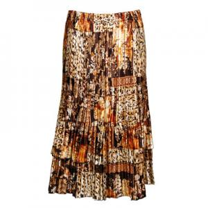 Wholesale Skirts - Satin Mini Pleat Tiered*  Multi Animal Floral Satin Mini Pleat Tiered Skirt - One Size (S-XL)