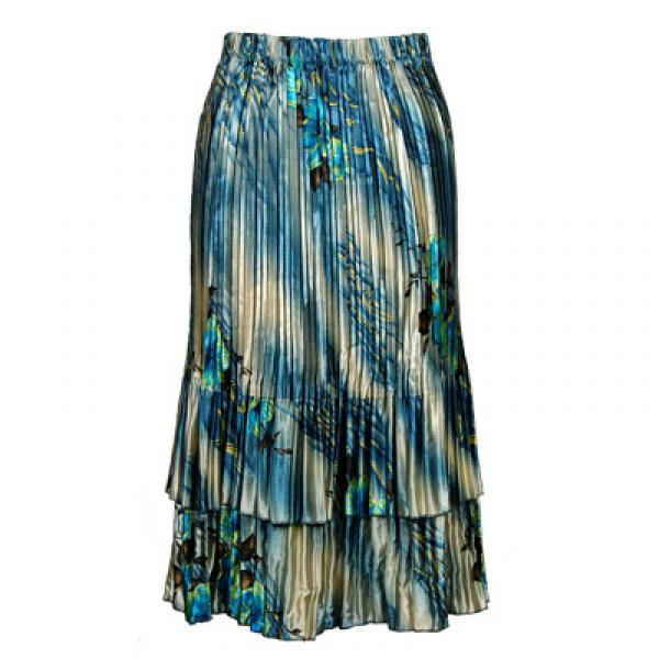 Wholesale Skirts - Satin Mini Pleat Tiered*  Marble Floral - Blue Satin Mini Pleat Tiered Skirt - One Size (S-XL)