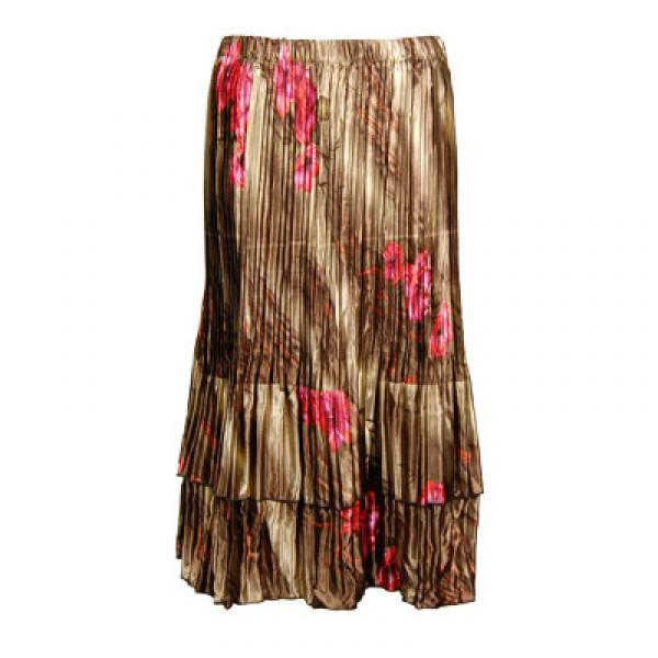 Wholesale Skirts - Satin Mini Pleat Tiered*  Marble Floral - Taupe Satin Mini Pleat Tiered Skirt - One Size (S-XL)