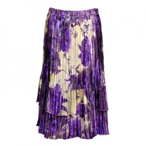 Wholesale Skirts - Satin Mini Pleat Tiered*  Rose Floral - Purple - One Size (S-XL)