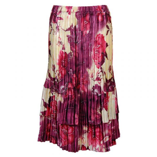 Wholesale Skirts - Satin Mini Pleat Tiered*  Rose Floral - Berry - One Size (S-XL)