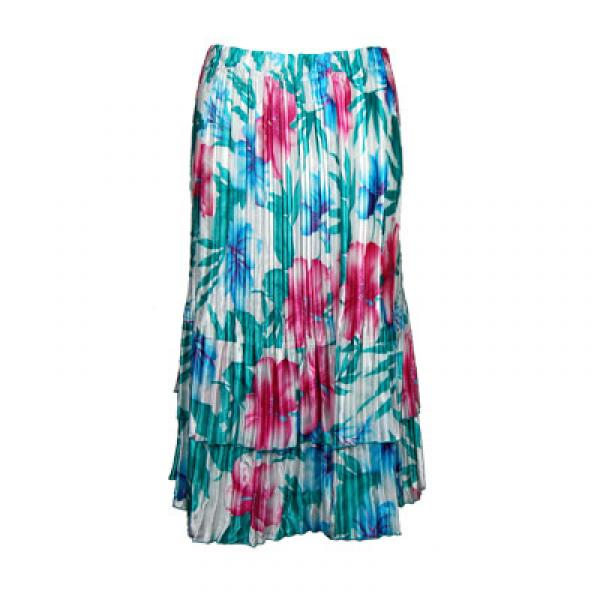 Wholesale Skirts - Satin Mini Pleat Tiered*  Bright Bouquet Satin Mini Pleat Tiered Skirt - One Size (S-XL)