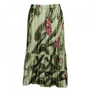 Wholesale Skirts - Satin Mini Pleat Tiered*  Multi Green Floral - One Size (S-XL)