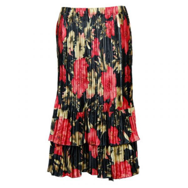 Wholesale Skirts - Satin Mini Pleat Tiered*  Coral Blossoms on Black Satin Mini Pleat Tiered Skirt - One Size (S-XL)