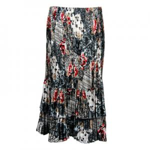 Wholesale Skirts - Satin Mini Pleat Tiered*  White-Black-Red Abstract - One Size (S-XL)