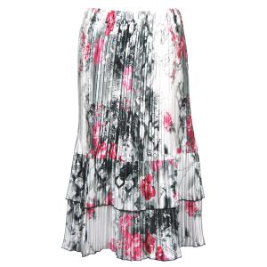 Wholesale Skirts - Satin Mini Pleat Tiered*  White-Black-Pink Floral - One Size (S-XL)