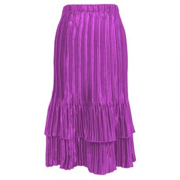 Wholesale Skirts - Satin Mini Pleat Tiered* Solid Raspberry Sherbet  - One Size (S-XL)