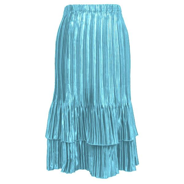 Wholesale Skirts - Satin Mini Pleat Tiered* Solid Aqua - One Size (S-XL)