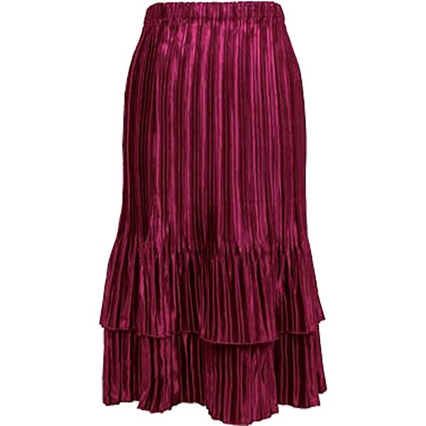 Wholesale Skirts - Satin Mini Pleat Tiered* Solid Berry - One Size (S-XL)