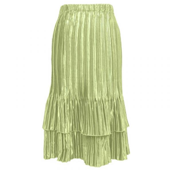 Wholesale Skirts - Satin Mini Pleat Tiered* Solid Celery  - One Size (S-XL)