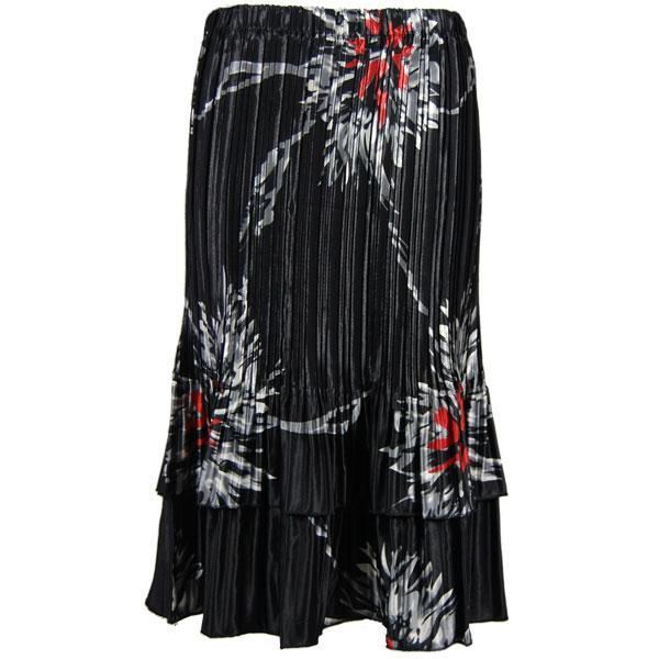 Wholesale Skirts - Satin Mini Pleat Tiered*  Oriental Floral Black-Red Satin Mini Pleat Tiered Skirt - One Size (S-XL)