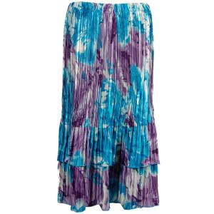 Wholesale Skirts - Satin Mini Pleat Tiered*  Turquoise-Purple Watercolors - One Size (S-XL)