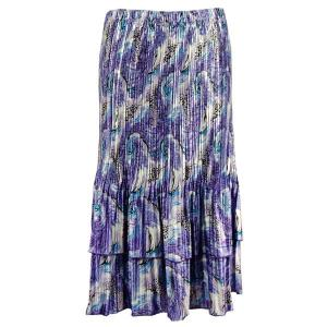 Wholesale Skirts - Satin Mini Pleat Tiered*  Purple Print Satin Mini Pleat Tiered Skirt - One Size (S-XL)