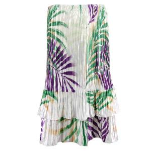 Wholesale Skirts - Satin Mini Pleat Tiered*  Palm Leaf Green-Purple Satin Mini Pleat Tiered Skirt - One Size (S-XL)