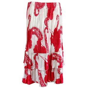 Wholesale Skirts - Satin Mini Pleat Tiered*  Red on White Satin Mini Pleat Tiered Skirt - One Size (S-XL)