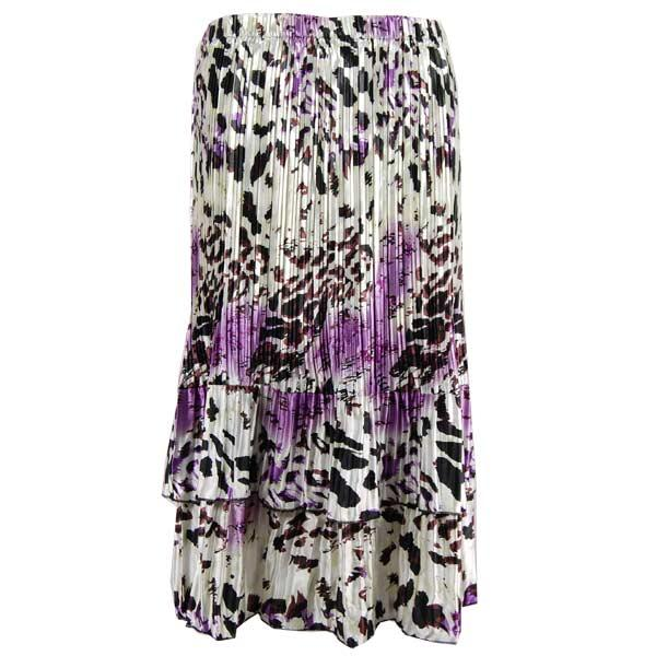 Wholesale Skirts - Satin Mini Pleat Tiered*  Reptile Floral - Purple Satin Mini Pleat Tiered Skirt - One Size (S-XL)