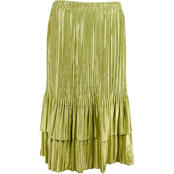 Wholesale Skirts - Satin Mini Pleat Tiered* Solid Leaf Green - One Size (S-XL)