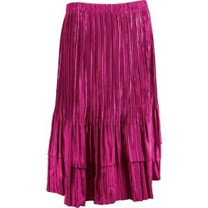Wholesale Skirts - Satin Mini Pleat Tiered* Solid Magenta Orchid - One Size (S-XL)