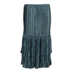 Wholesale Skirts - Satin Mini Pleat Tiered* Solid Pewter - One Size (S-XL)