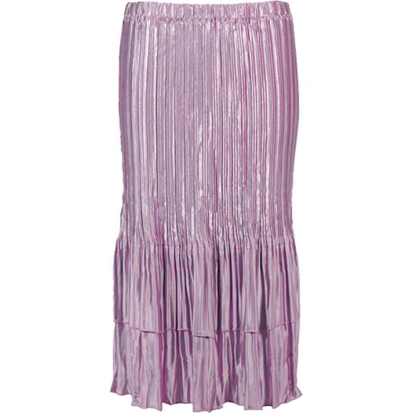 Wholesale Skirts - Satin Mini Pleat Tiered* Solid Dusty Purple - One Size (S-XL)