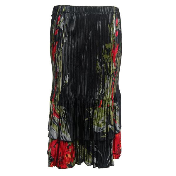 Wholesale Skirts - Satin Mini Pleat Tiered*  Olive-Red Floral on Black Satin Mini Pleat Tiered Skirt - One Size (S-XL)
