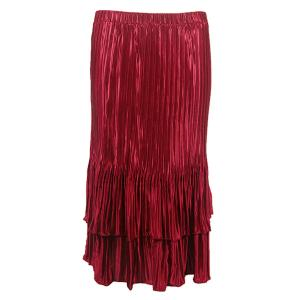 Wholesale Skirts - Satin Mini Pleat Tiered* Solid Wine - One Size (S-XL)