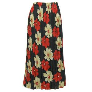 Skirts - Georgette Mini Pleat Ankle Length*  Hibiscus Red-Tan - One Size (S-XL)