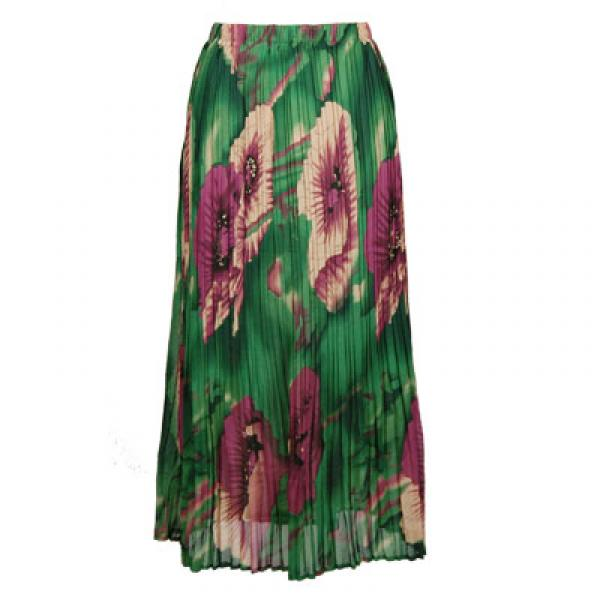 Skirts - Georgette Mini Pleat Ankle Length*  Poppies - Green  - One Size (S-XL)