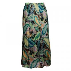 Skirts - Georgette Mini Pleat Ankle Length*  Paisley Floral - Cool  - One Size (S-XL)