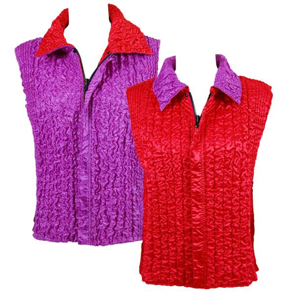 Quilted Reversible Vests Solid Red reverses to Solid Orchid - Plus Size Fits (M-1X)