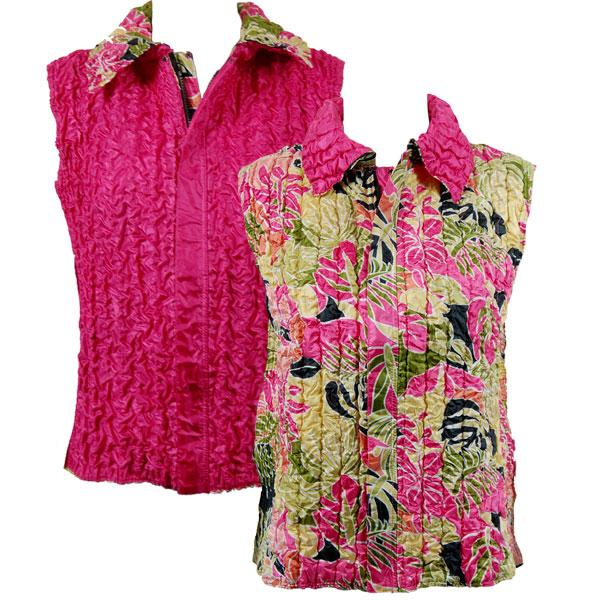 Quilted Reversible Vests Tropical Heat reverses to Solid Hot Pink - S-L