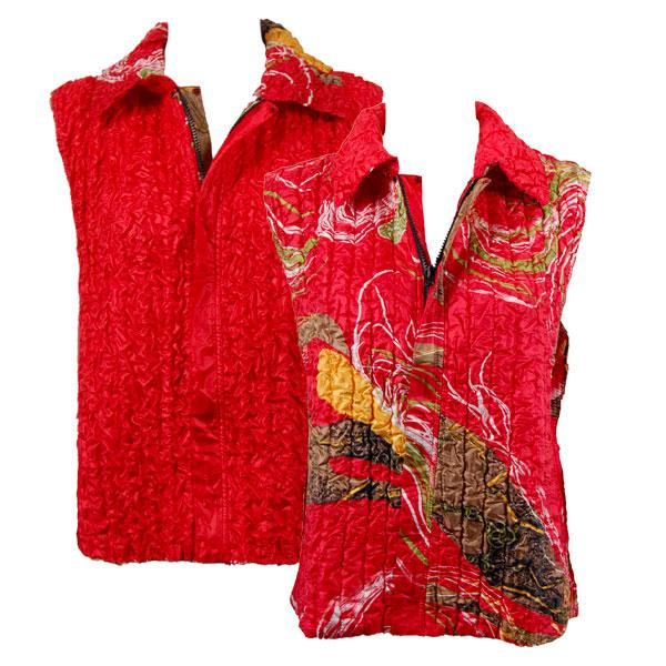 Quilted Reversible Vests Swirl Olive-Red reverses to Solid Red - S-L