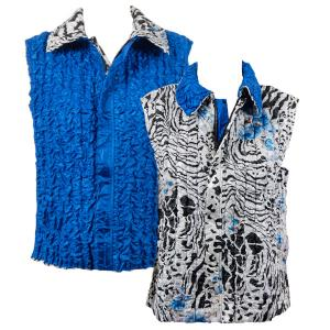 Wholesale  Reptile Floral - Blue reverses to Solid Bright Blue - S-L