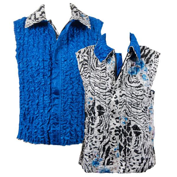 Quilted Reversible Vests Reptile Floral - Blue reverses to Solid Bright Blue - S-L