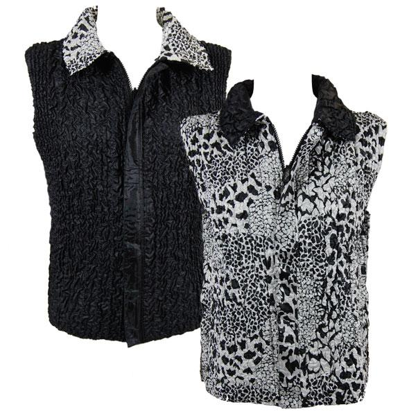 Quilted Reversible Vests Reptile Black-White reverses to Solid Black -  S-L