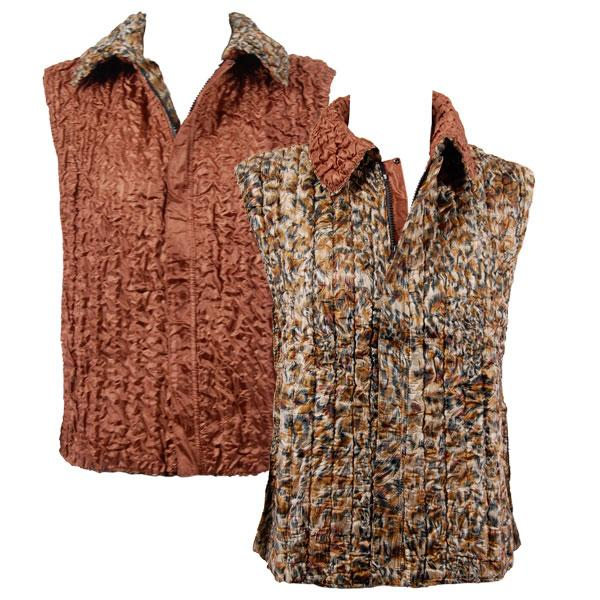 Quilted Reversible Vests Leopard reverses to Solid Dark Taupe - XL-2X