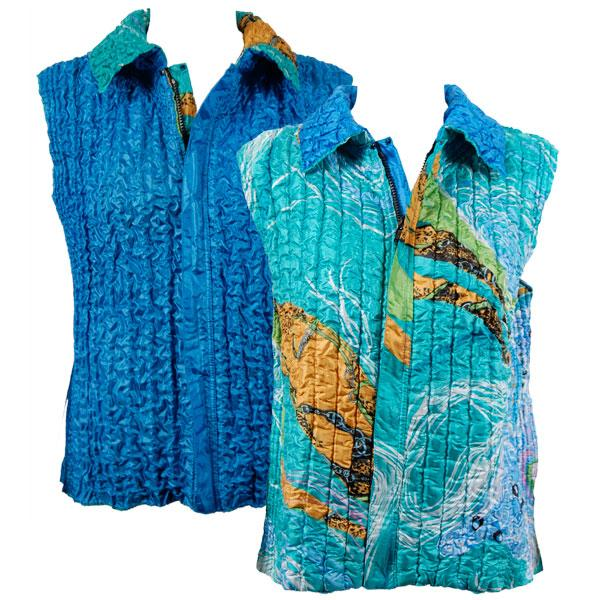 Quilted Reversible Vests Swirl Aqua-Blue reverses to Solid Azure Blue - XL-2X