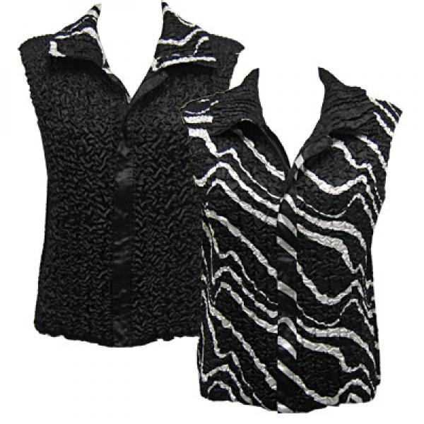 Quilted Reversible Vests Ribbon Black-White reverses to Solid Black - XL-2X