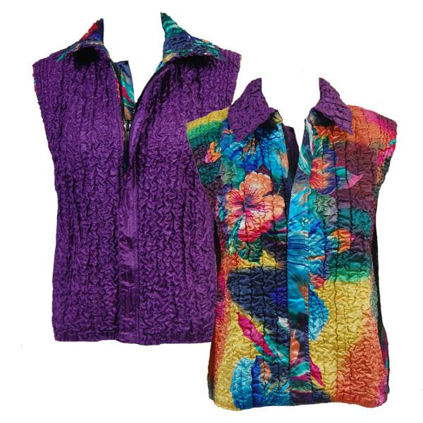 Quilted Reversible Vests Rainbow Hibiscus reverses to Solid Bright Purple - S-L
