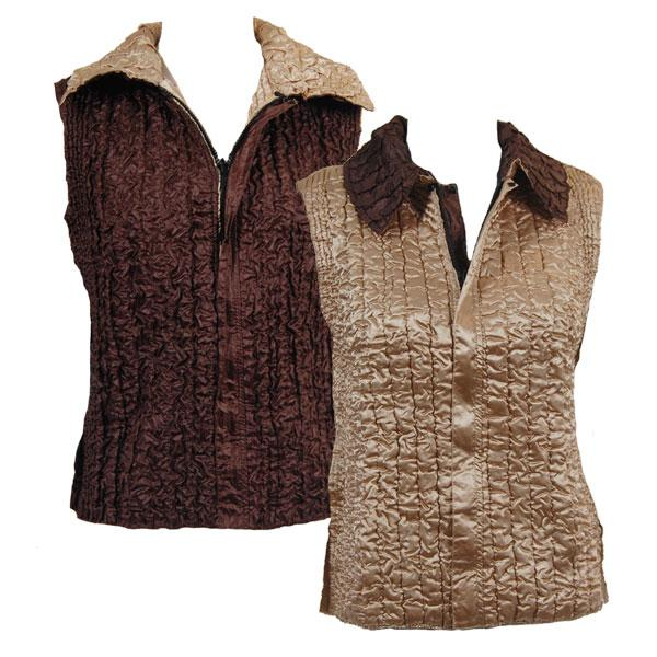 Quilted Reversible Vests Solid Khaki reverses to Solid Brown - S-L