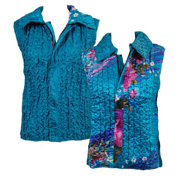 Quilted Reversible Vests Pink-Purple Floral on Teal reverses to Solid Dark Teal - XL-2X