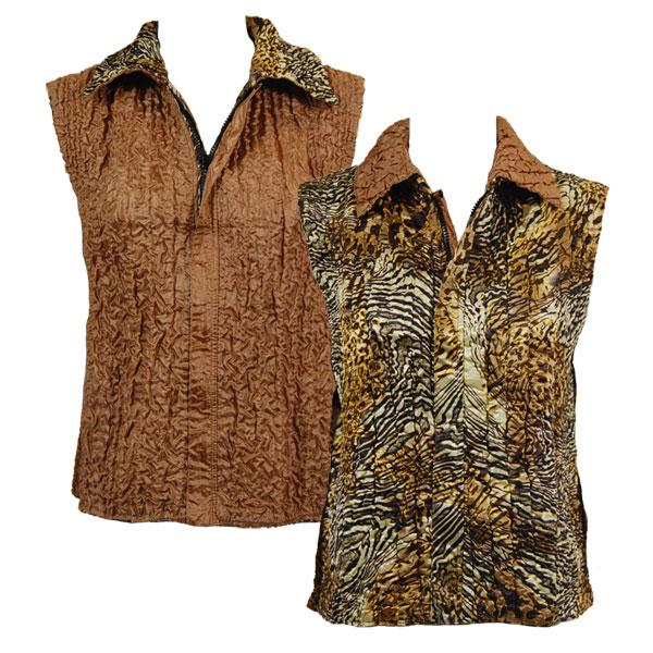 Quilted Reversible Vests Swirl Leopard reverses to Solid Camel - XL-2X