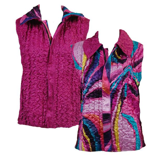 Quilted Reversible Vests Half Moon Pink-Turquoise reverses to Solid Dark Orchid - XL-2X